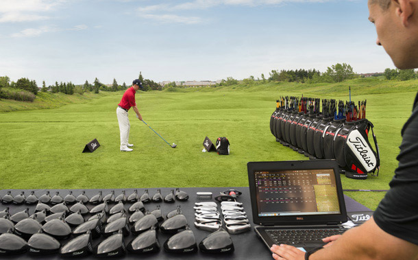 Titleist technology analyzing clubs and swing to fit this golfer